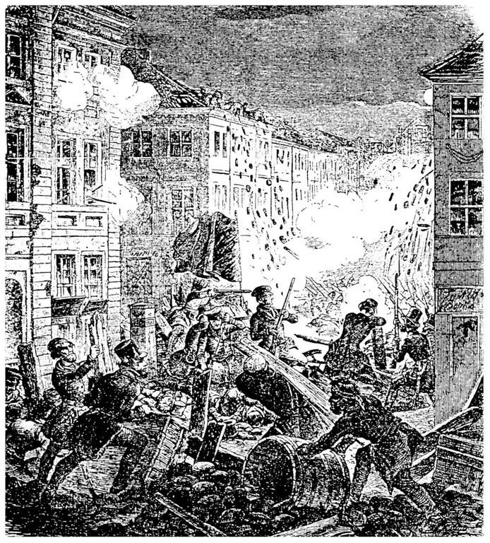 Barrikadenkampf am Cöllner Rathaus