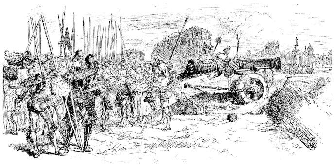 Landsknechte mit Kanone im Dreißigjährigen Krieg, Darstellung von 1891